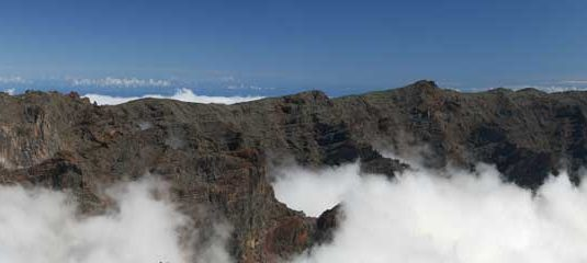 Rocky mountain peaks of La Palma