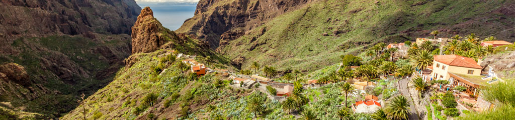 a small commmunity on top of a hill against a breath-taking mountain over-looking the sea in Masca Tenerife