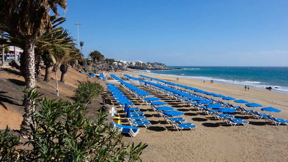 Rows of Sunbeds and Parasols on Playa Grande